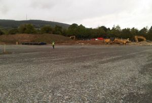 Eoin O'Brien Project Engineer for Dun Loaghaire and Rathdown Council walks the site.