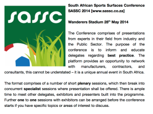 South African Sports Surfaces Conference SASSC 2014
